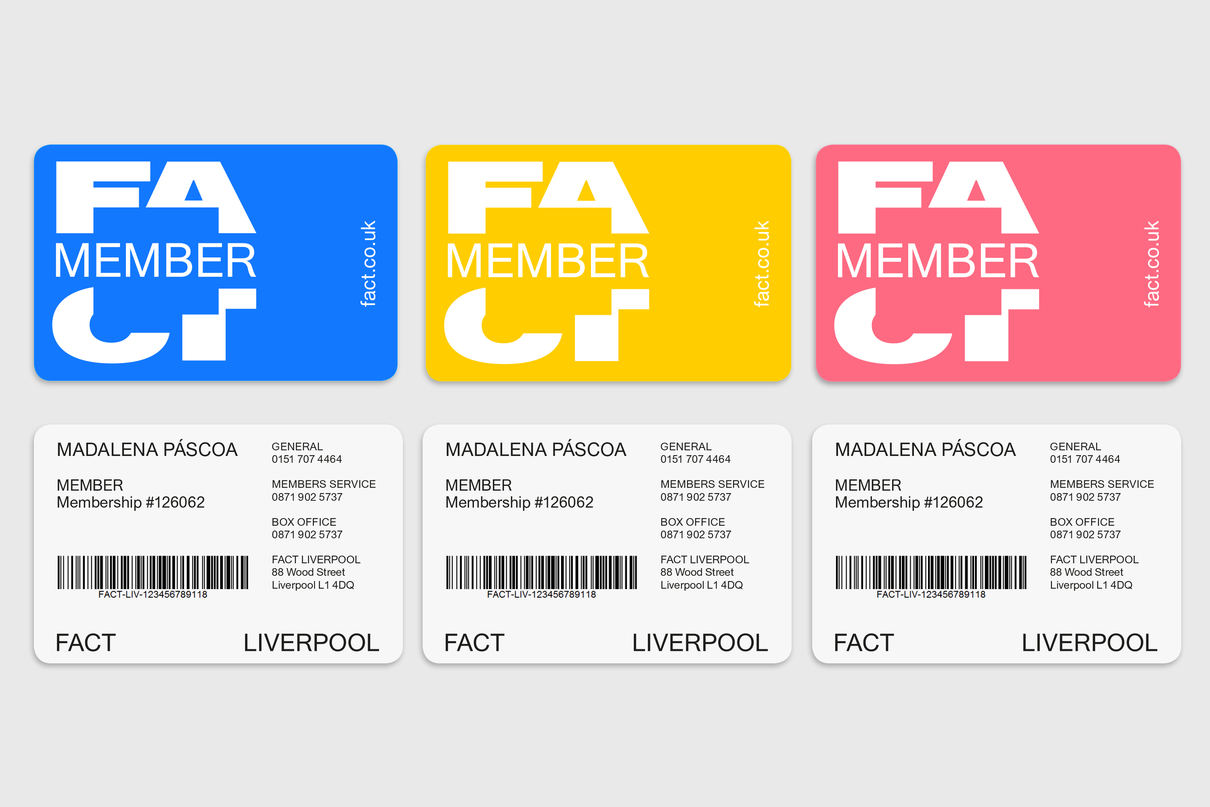 FACT Liverpool member cards, design by Praline