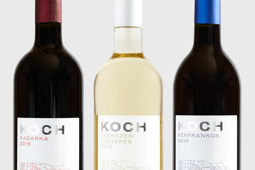 KOCH Hungarian wine bottles, design by Praline